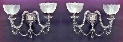 Pair of English Victorian Waterford Crystal 2 Arm Wall Sconces