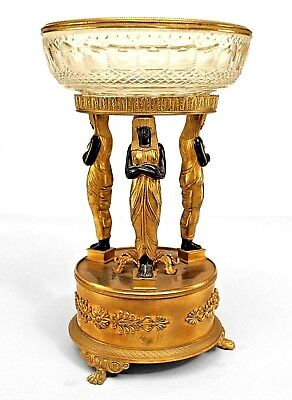 French Empire Style (19th Cent) Compote with 3 Egyptian Ebonized Figures