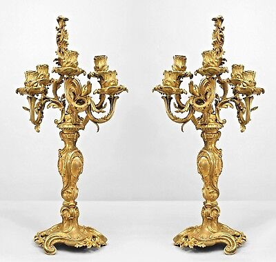 Pair of French Louis XV Style (19th Cent) Bronze Dore 5 Arm Candelabra
