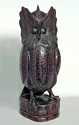 English Victorian Carved Ebony Figure of An Owl Standing on a Shaped Base