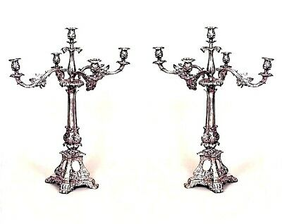Pair of English Georgian Style (19th Cent) Silver Plate 5 Arm Candelabra