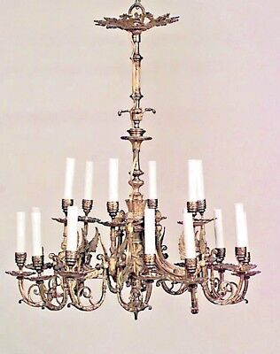 French Empire Style (19th Cent) Bronze Dore 18 Arm Chandelier with Winged Figure
