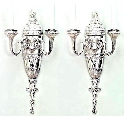 Pair of English Georgian Style (19th Cent.)Silver-plated Fluted Arm Wall Sconces