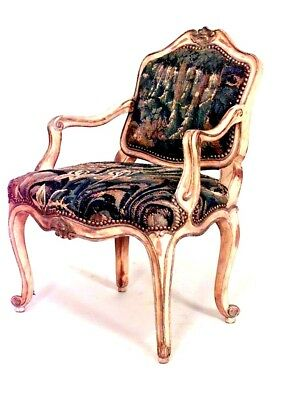 French Louis XV style (19th Cent) painted child's arm chair with tapestry uphols