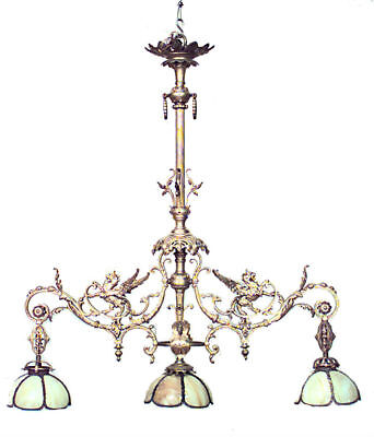 French Victorian Bronze Dore 3 Light Billiard Fixture with Winged Griffins