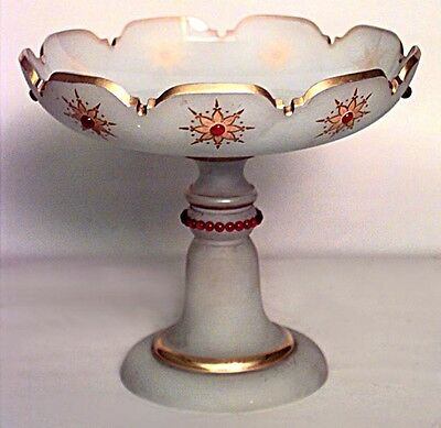 French Victorian White Opaline Compote with Gilt Trim and Glass Jewels