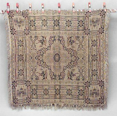 English Victorian square beige woven table cover with desert horsemen and mosque