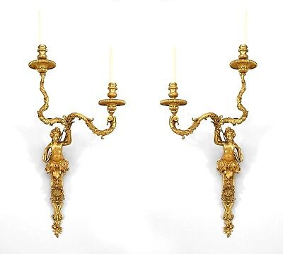 Pair of French Louis XV Style (20th Cent) Bronze Dore 2 Arm Wall Sconces