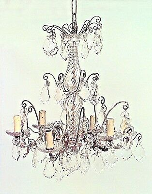 French Louis XV Style (19th Cent.) Bronze and Crystal 6 Scroll Arm Chandelier