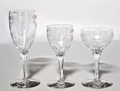 Set of 16 French Victorian Assorted Crystal Glasses with Etched Festoon Design