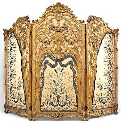 French Louis XV Style (19th Cent) Carved Gilt 3 Fold Screen