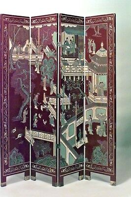 Asian Chinese style (20th Cent) red coromandel 4 fold screens (PRICED EACH)