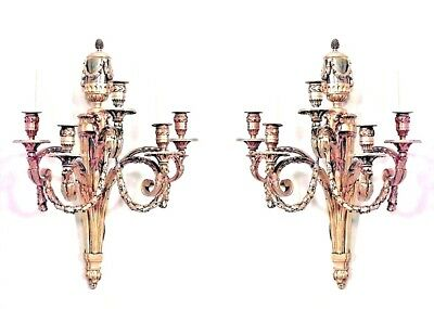 Pair of French Louis XVI Style (19/20th Cent) Bronze Dore 5 Arm Wall Sconces