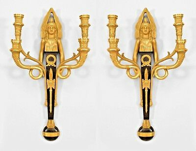 Pair of French Empire Style (20th Cent) Bronze & Gilt Trimmed 4 Arm Wall Sconces