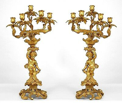 Pair of French Louis XV Style (19th Cent.) Bronze Dore Cupid 6 Arm Candelabra