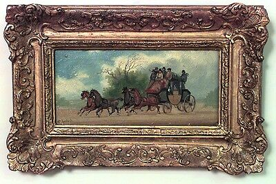 Pair of English Victorian Style Gold Carved Framed Oil Paintings of Carriage