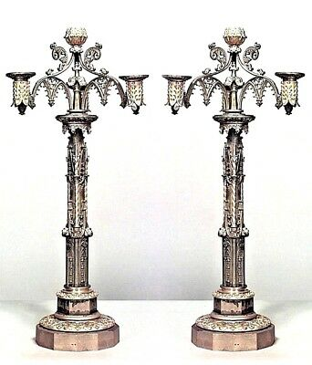 Pair of English Gothic Revival Style (19th Cent.) Bronze Dore 3 Arm Candelabra