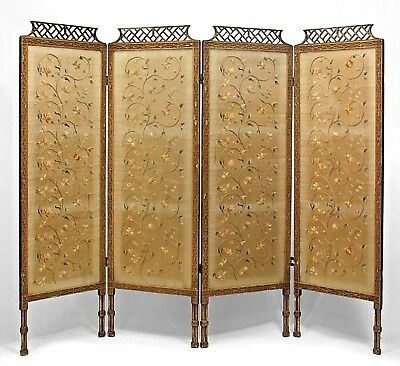 English Chinese Chippendale Style (19th Cent.) Gilt 4 Fold Screen