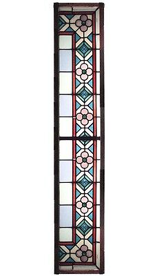 Set of 3 English Arts & Crafts Stained Green and Blue Leaded Glass Window Panels