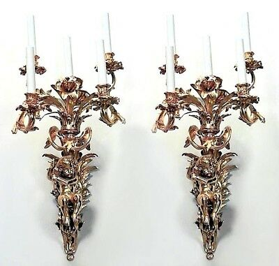 Pair of French Louis XV style bronze dore wall sconce with 5 arms
