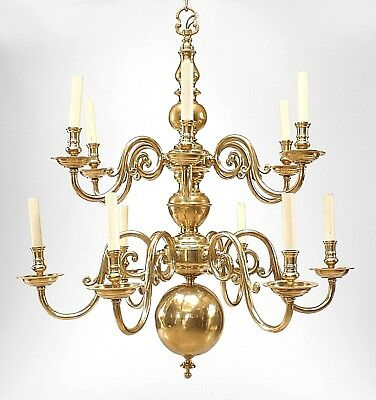English Georgian Style (20th Cent) Brass 2 Tier 12 Scroll Arm Chandeliers