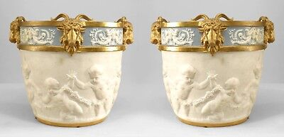 French Louis XVI Style Blue and White Sevres (Samson) Porcelain Jardiniere