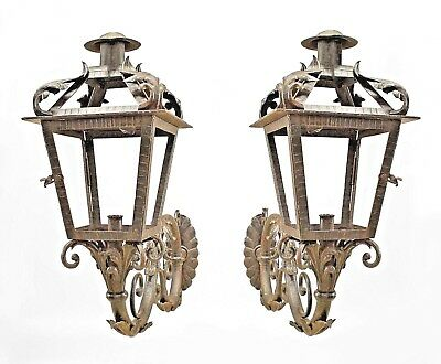 Pair of Italian Venetian Style (19th Cent) Wrought Iron Sconces with Lanterns