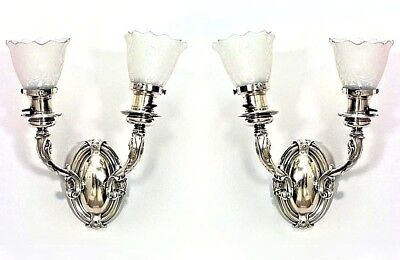 Pair of American Victorian Bronze Oval Back Dolphin 2 Arm Wall Sconces