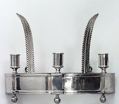 Pair of English Georgian Style (20th Cent) Silver Plate Half Round Wall Sconces