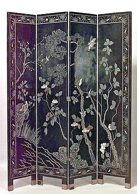 2 Asian Chinese style (20th Cent) black coromandel 4 fold screens with scene of
