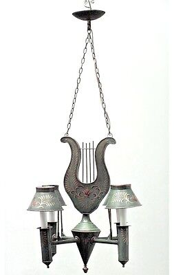 French Directoire Style Green Tole and Gilt Trimmed 4 Arm Chandelier