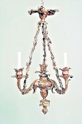 French Louis XV Style (19/20th Cent.) Bronze Dore 3 Arm Chandelier