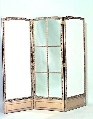 French Louis XVI Style (19th Cent.) Gilt Fold Screen with Mirror