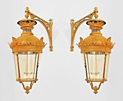 Pair of French Victorian Bronze 4 Sided Bent Glass Paneled Lanterns