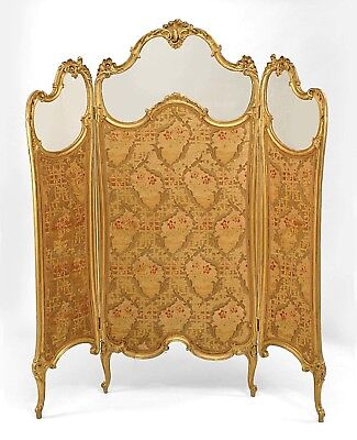 French Louis XV style (19th Cent) gilt 3 fold screen with glass top panels and b