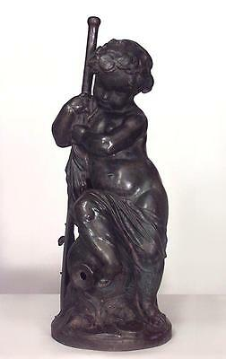 French Victorian Cast Iron Allegorical Fountain Figure of a Putti