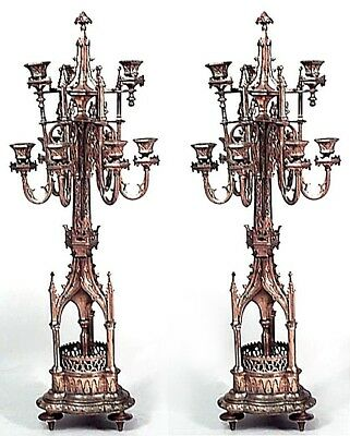 Pair of English Gothic Revival Style (19th Cent.) Bronze Dore 9 Arm Candelabra