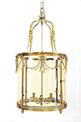 French Louis XVI Style (20th Cent.) Bronze Dore Lantern with 3 Arm Fixture