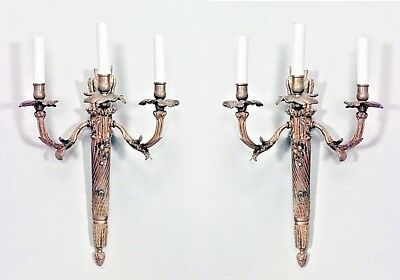 Pair of French Louis XVI style bronze dore 3 arm wall sconces