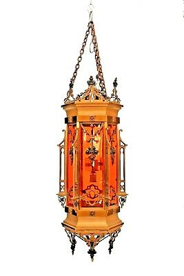 English Gothic Revival Style (19/20th Cent.) Bronze 6 Sided Hanging Lanterns