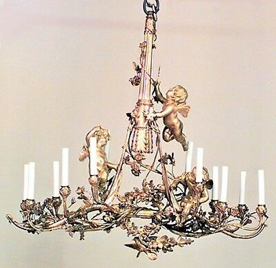 French Louis XVI Style (19th Cent) Bronze Dore 12 Light Bow and Arrow Chandelier
