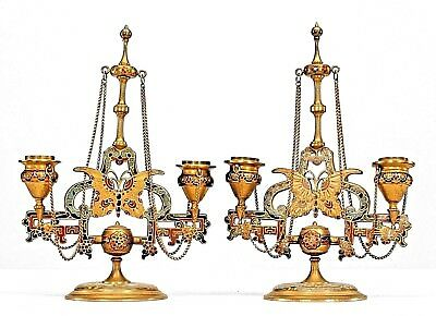 Pair of French Victorian Bronze Dore and Enamel Double Arm Candelabra