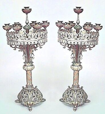 Pair of English Gothic Revival Style (19/20th Cent.) Bronze 7 Arm Candelabras