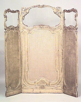 French Louis XV style (19th Cent.) gilt 3 fold screen with glass top panels and