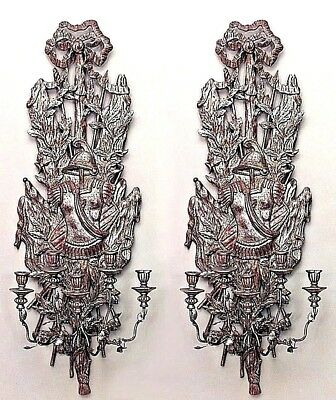 Pair of Italian Renaissance Style (20th Cent) Carved Silver & Gilt Wall Sconces