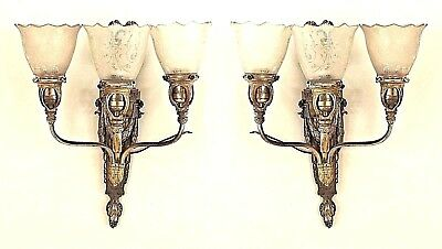 Pair of French Victorian Style (19/20th Cent) Bronze 3 Arm Wall Sconces