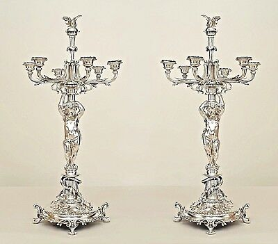 Pair of French Victorian Silver Plated Candelabra with a Cupids