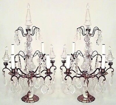 Pair of French Louis XV Style (20th Cent.)  Bronze and Crystal 4 Arm Candelabra