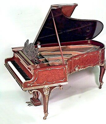 French Louis XV Style Ormolu Mounted Kingwood, Tulipwood & Parquetry Grand Piano