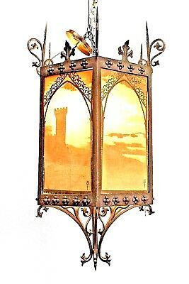 Italian Renaissance Style (19th Cent.) Wrought Iron 6 Sided Hanging Lanterns